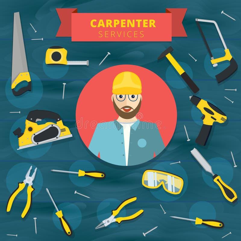 Progettazione di massima di vettore di servizio del carpentiere Backg dell'insegna del falegname illustrazione vettoriale