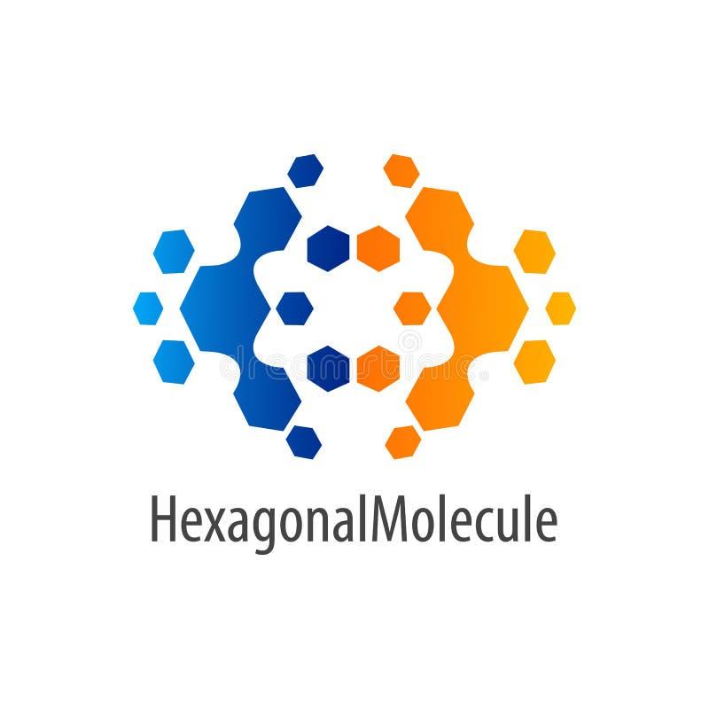 Progettazione di massima esagonale di logo di vibrazione della molecola Elemento grafico del modello di simbolo illustrazione di stock