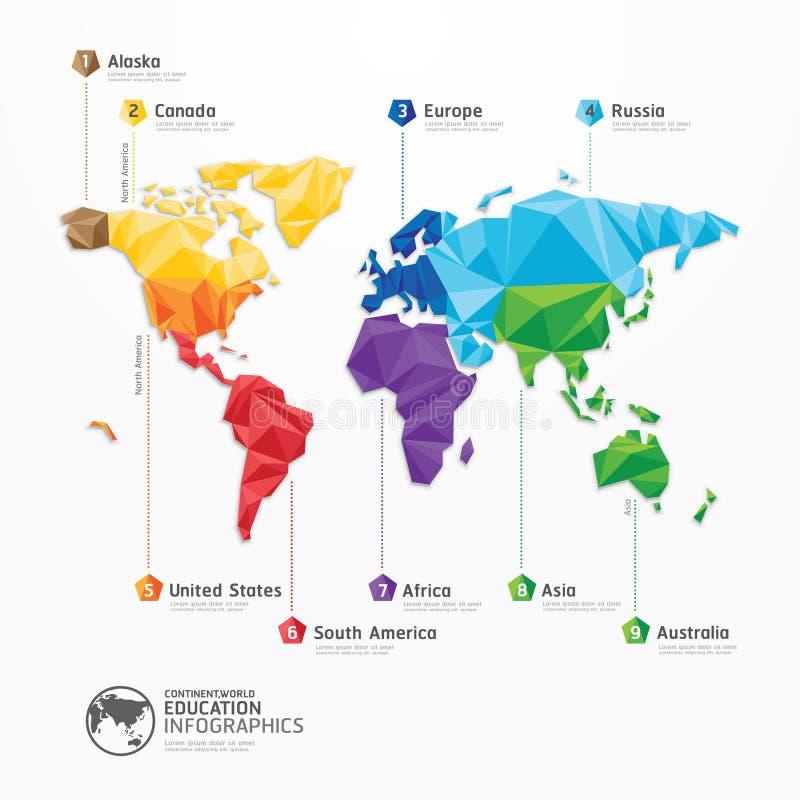 Progettazione di massima geometrica di infographics dell'illustrazione della mappa di mondo. royalty illustrazione gratis