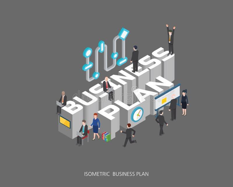 Progettazione di massima isometrica piana del business plan dell'illustrazione di vettore 3d, stile moderno urbano astratto, seri illustrazione vettoriale