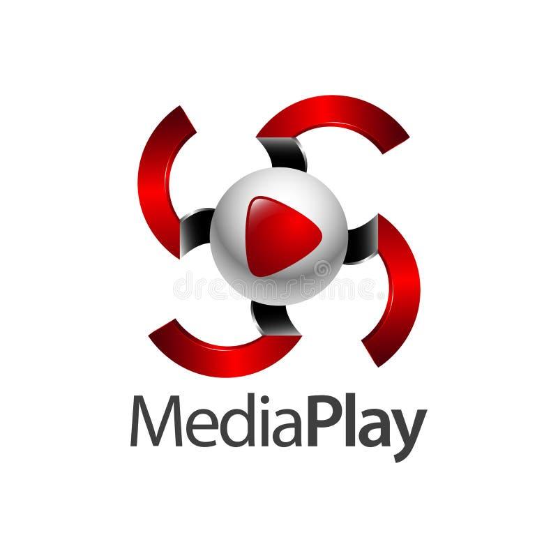 Progettazione di massima di logo del gioco di media della sfera di turbinio Elemento grafico del modello di simbolo illustrazione vettoriale