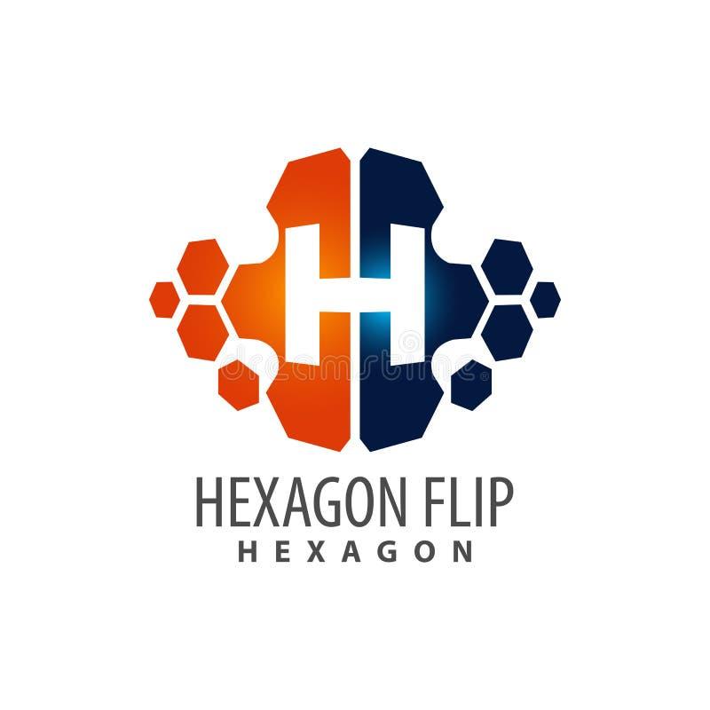 Progettazione di massima di logo della lettera iniziale H di vibrazione di esagono Elemento grafico del modello di simbolo illustrazione vettoriale