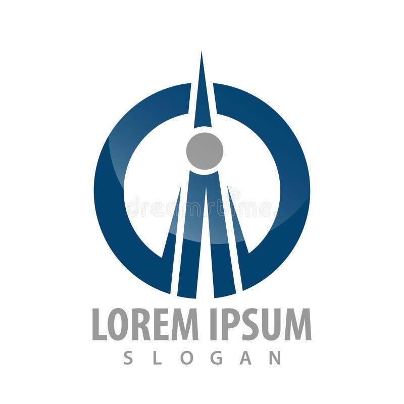 Progettazione di massima di logo della torre del trasmettitore del cerchio Vettore grafico dell'elemento del modello di simbolo illustrazione di stock