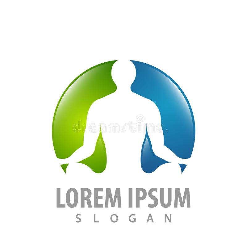 Progettazione di massima umana di logo di rilassamento di yoga Vettore grafico dell'elemento del modello di simbolo illustrazione di stock