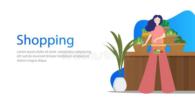 Progettazione di massima di verdure di acquisto della drogheria per le insegne di web La femmina della gente fa gli acquisti in d illustrazione di stock