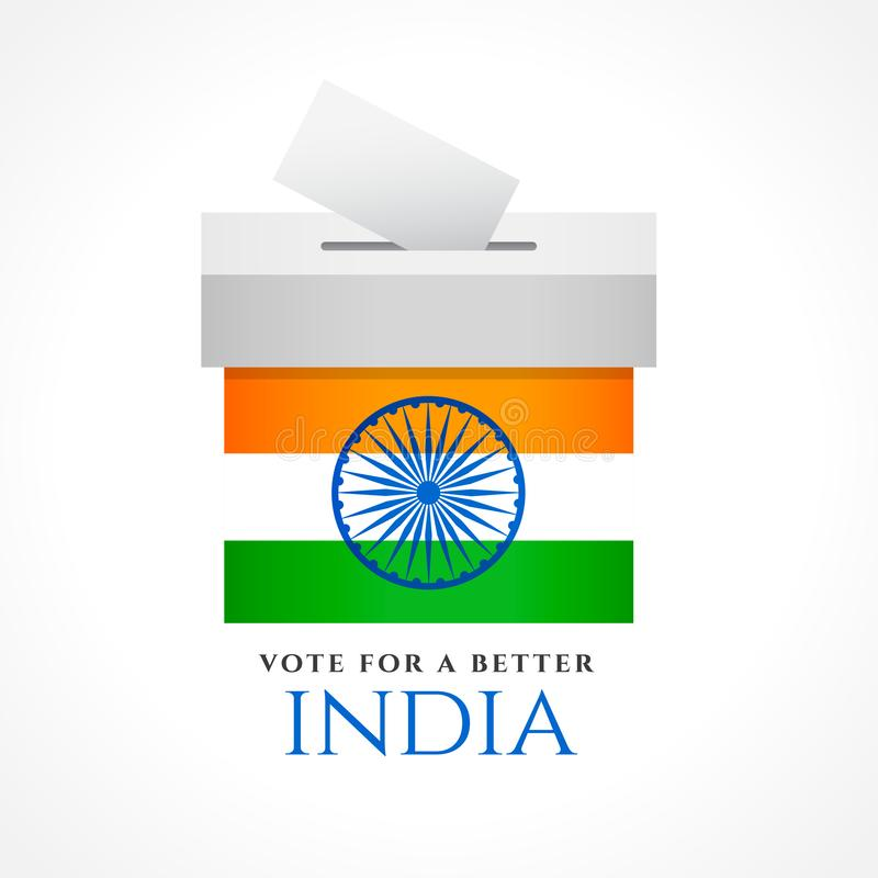 Progettazione di massima di voto dell'India con la bandiera illustrazione di stock