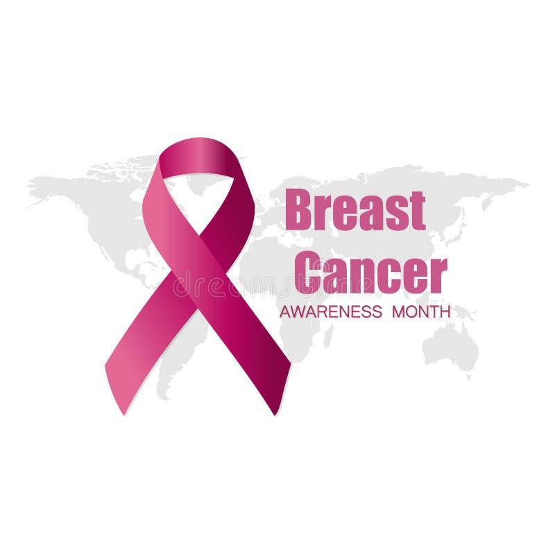 Progettazione di mese di consapevolezza del cancro al seno del fronte rosa della donna e del nastro con la mappa di mondo royalty illustrazione gratis