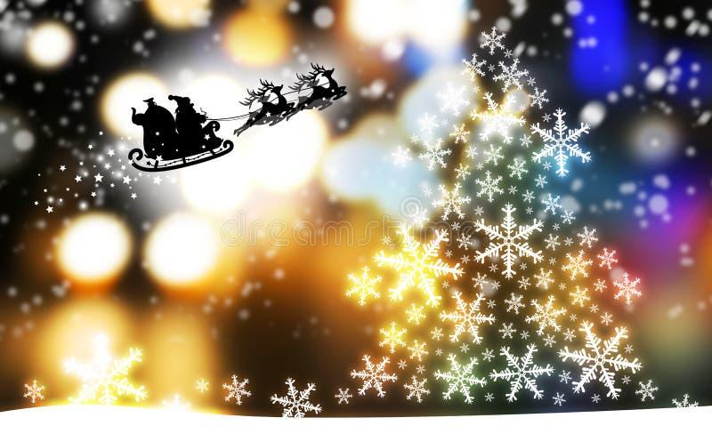 Progettazione di Natale dell'albero e del Babbo Natale di natale con la renna royalty illustrazione gratis