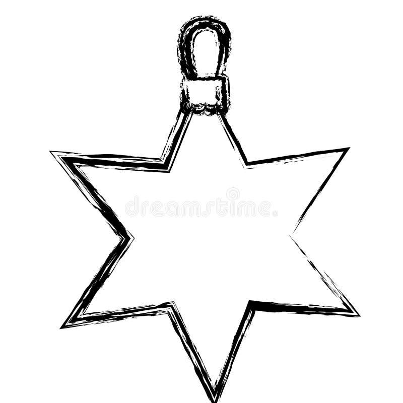 progettazione di natale della ghirlanda della stella vaga siluetta illustrazione vettoriale