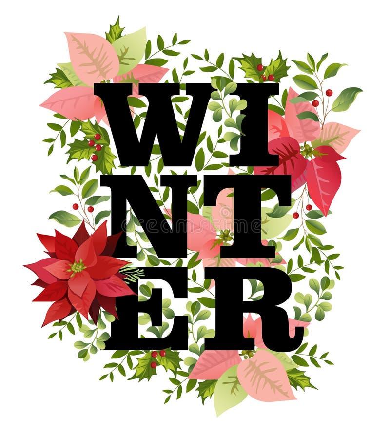 Progettazione di Natale nel vettore La stella di Natale dell'inverno fiorisce il retro fondo illustrazione vettoriale