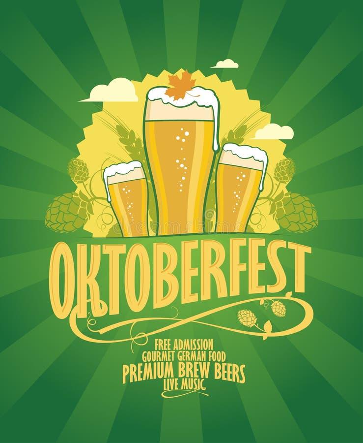 Progettazione di Oktoberfest con birra e speranza illustrazione vettoriale