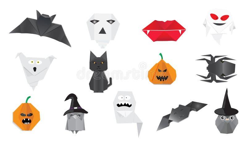 Progettazione di origami della raccolta di Halloween fotografia stock libera da diritti