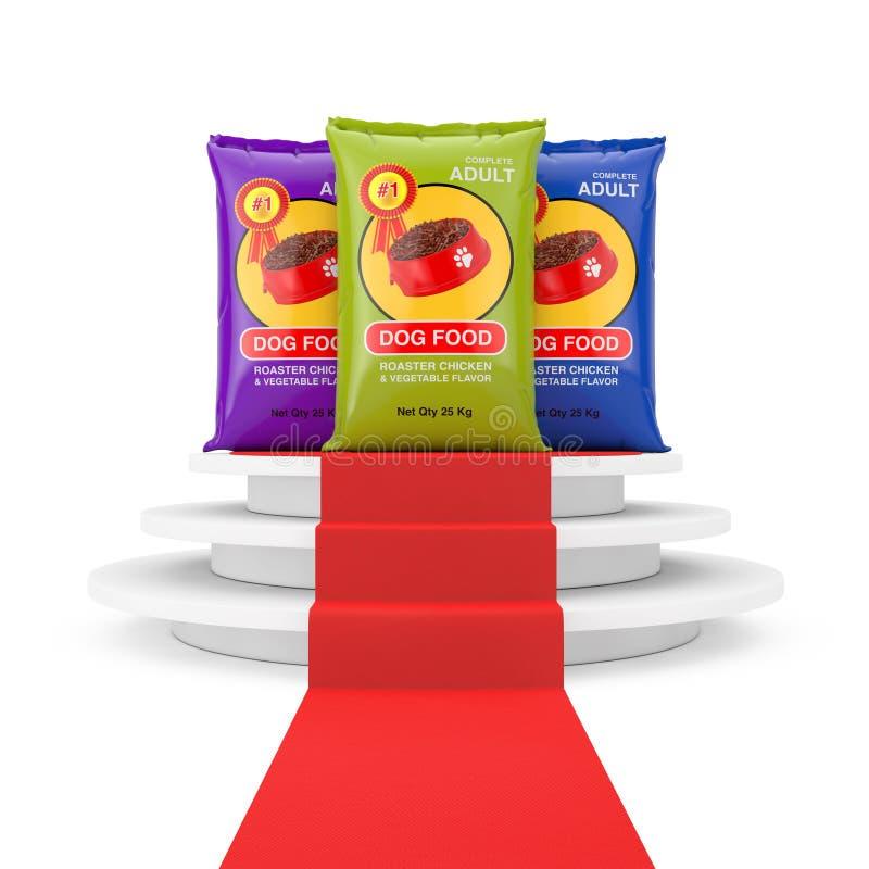 Progettazione di pacchetti della borsa del cibo per cani sopra il piedistallo bianco rotondo con i punti e un tappeto rosso rappr fotografia stock