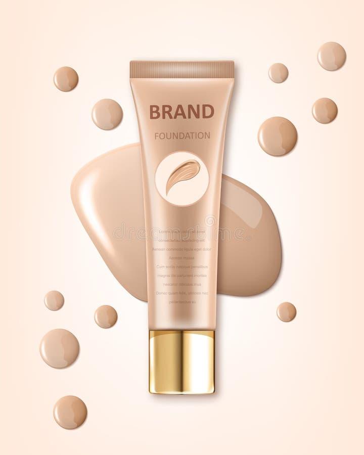 Progettazione di pacchetto cosmetica, modello in bianco del tubo del fondamento per gli usi di progettazione nel tono di colore d illustrazione vettoriale