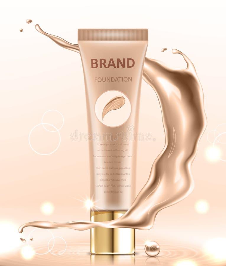 Progettazione di pacchetto cosmetica, modello in bianco del tubo del fondamento per gli usi di progettazione nel tono di colore d royalty illustrazione gratis