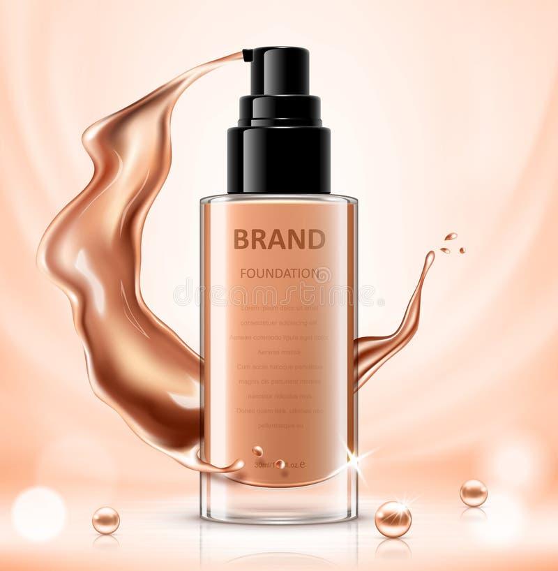 Progettazione di pacchetto cosmetica, modello della bottiglia del fondamento per gli usi di progettazione nel tono di colore dell royalty illustrazione gratis