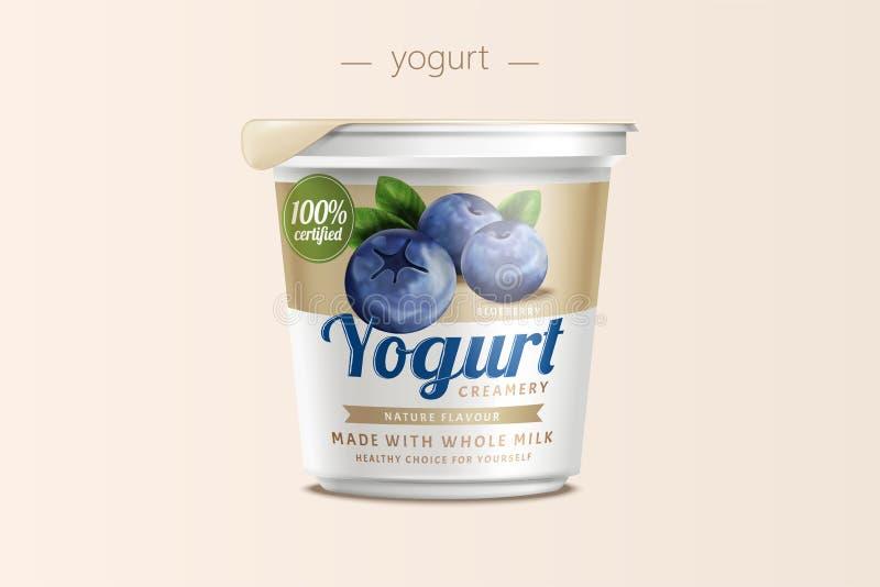 Progettazione di pacchetto del yogurt di mirtillo illustrazione vettoriale