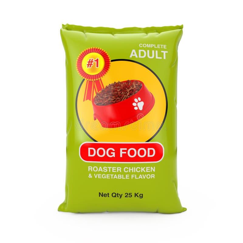 Progettazione di pacchetto della borsa del cibo per cani rappresentazione 3d illustrazione vettoriale
