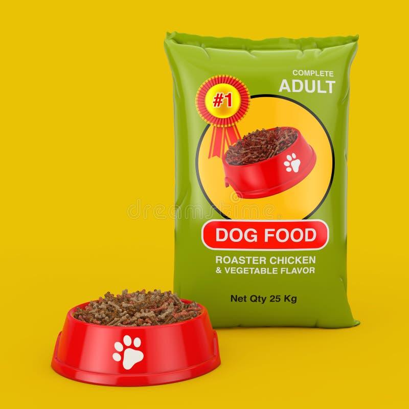 Progettazione di pacchetto della borsa del cibo per cani vicino alla ciotola di plastica rossa con alimento asciutto per il cane  royalty illustrazione gratis