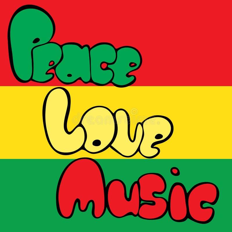 Progettazione di pace, di amore e di musica nello stile della bolla nei colori verdi, gialli e rossi Illustrazione di vettore illustrazione vettoriale