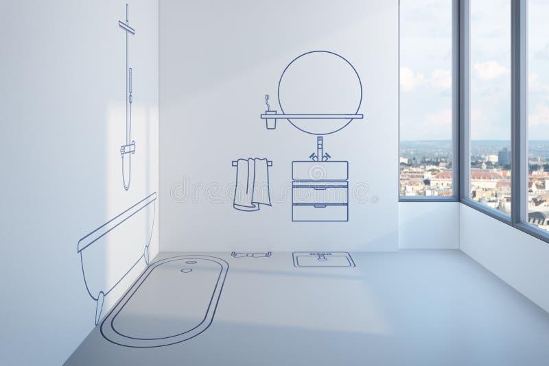 Progettazione di pianificazione del bagno illustrazione vettoriale