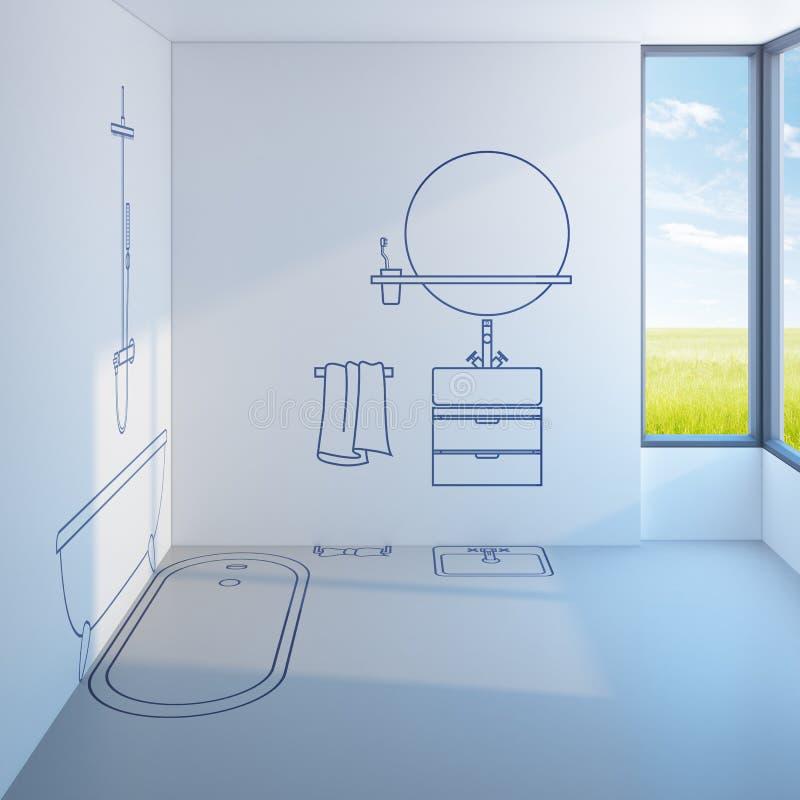Progettazione di pianificazione del bagno royalty illustrazione gratis