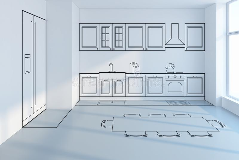 Progettazione di pianificazione della cucina illustrazione di stock