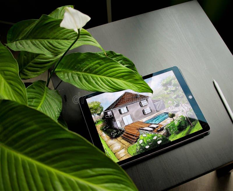 Progettazione di piano di architettura del paesaggio nel cortile per la villa fotografia stock
