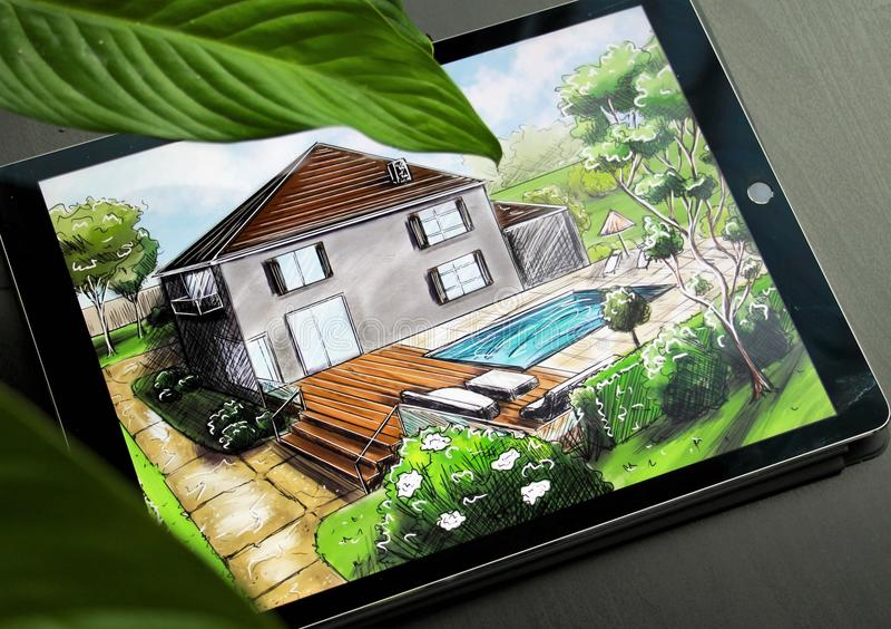 Progettazione di piano di architettura del paesaggio nel cortile per la villa Progetto di architettura del pæsaggio immagine stock libera da diritti