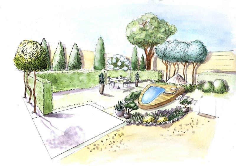 Progettazione di piano di architettura del paesaggio nel cortile per la villa Progetto di architettura del pæsaggio immagini stock libere da diritti