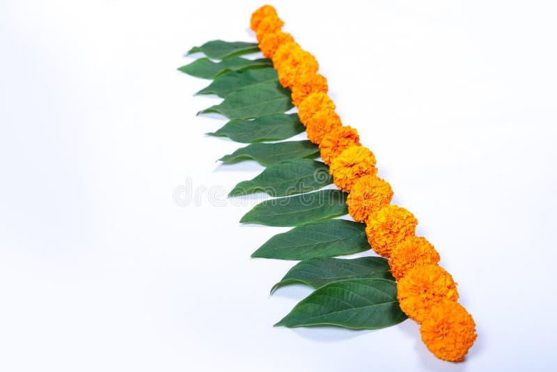 Progettazione di rangoli del fiore del tagete per il festival di Diwali, decorazione indiana del fiore di festival immagine stock