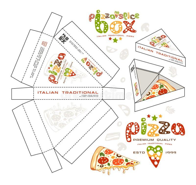 Progettazione di riserva di vettore delle scatole per la fetta della pizza illustrazione vettoriale