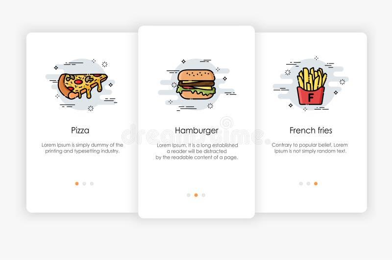 Progettazione di schermi di Onboarding nel concetto degli alimenti a rapida preparazione Illustrazione moderna e semplificata di  illustrazione di stock