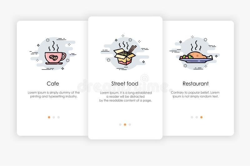 Progettazione di schermi di Onboarding nel concetto dell'alimento Illustrazione moderna e semplificata di vettore illustrazione vettoriale