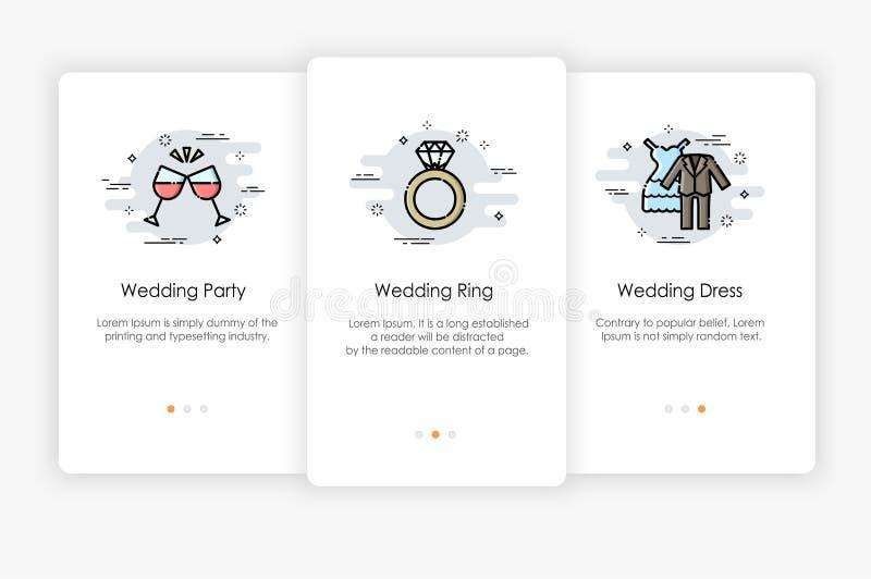 Progettazione di schermi di Onboarding nel concetto di nozze Illustrazione moderna e semplificata di vettore illustrazione di stock
