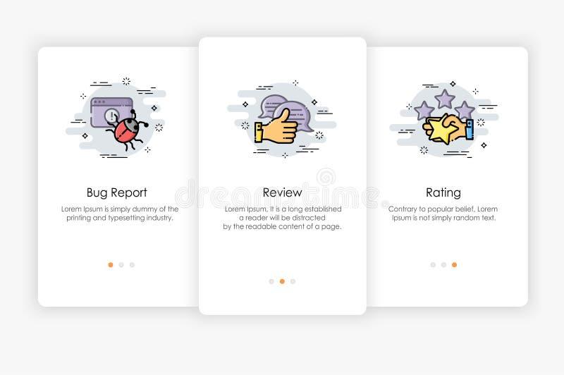 Progettazione di schermi di Onboarding nel concetto di rapporto e di rassegna illustrazione vettoriale