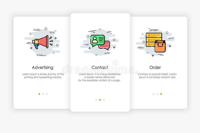 Progettazione di schermi di Onboarding nel concetto di vendita royalty illustrazione gratis