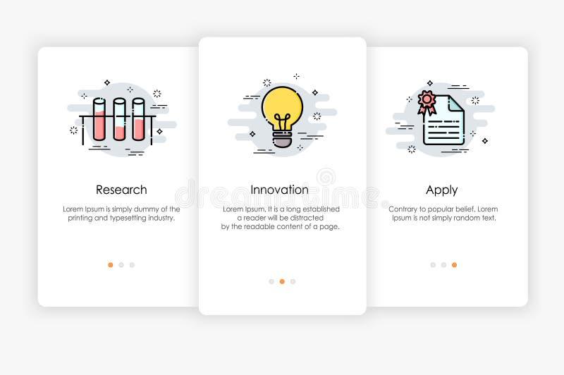 Progettazione di schermi di Onboarding nella ricerca e nel concetto dell'innovazione illustrazione di stock