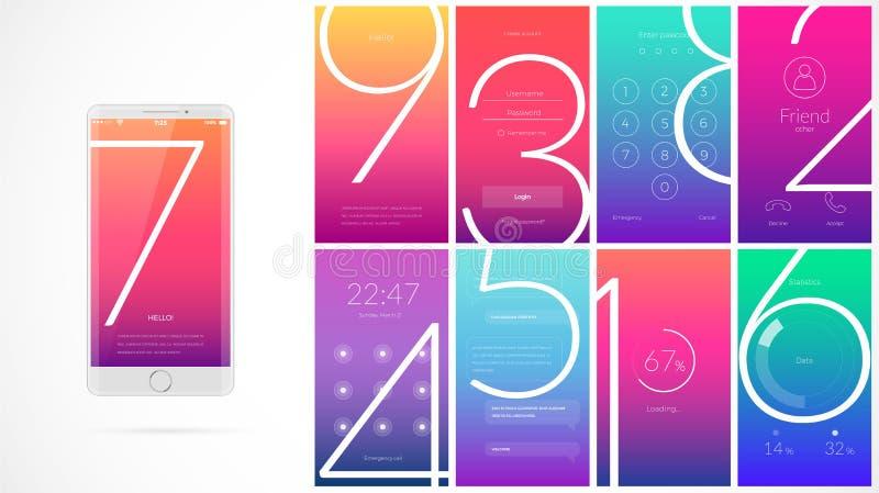 Progettazione di schermo moderna di UI per il cellulare app con le icone di web illustrazione di stock