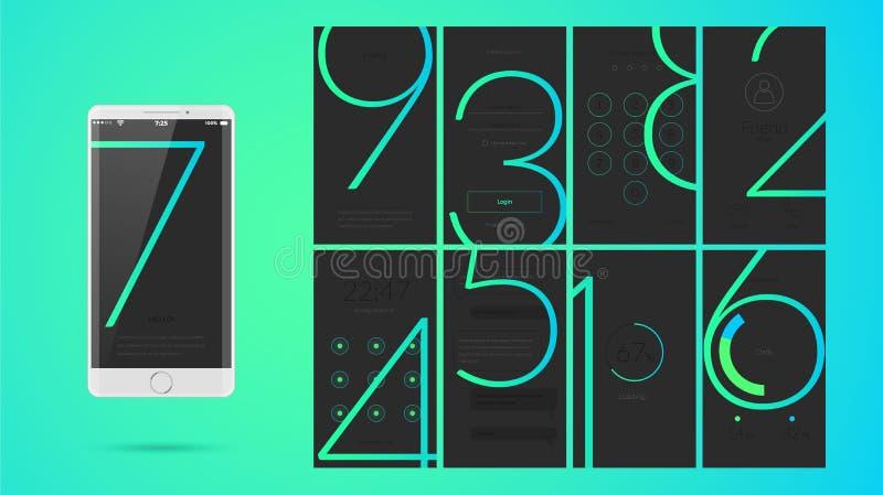 Progettazione di schermo moderna di UI per il cellulare app con le icone di web royalty illustrazione gratis