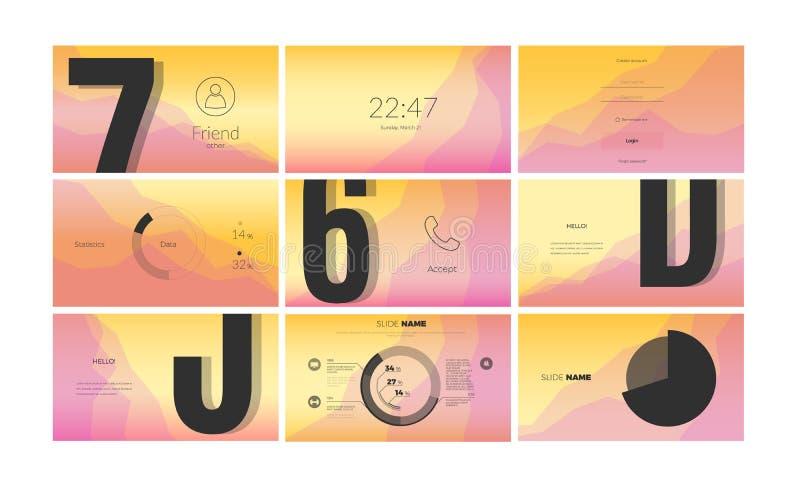Progettazione di schermo moderna di UI per il app mobile con gli elementi di web illustrazione di stock