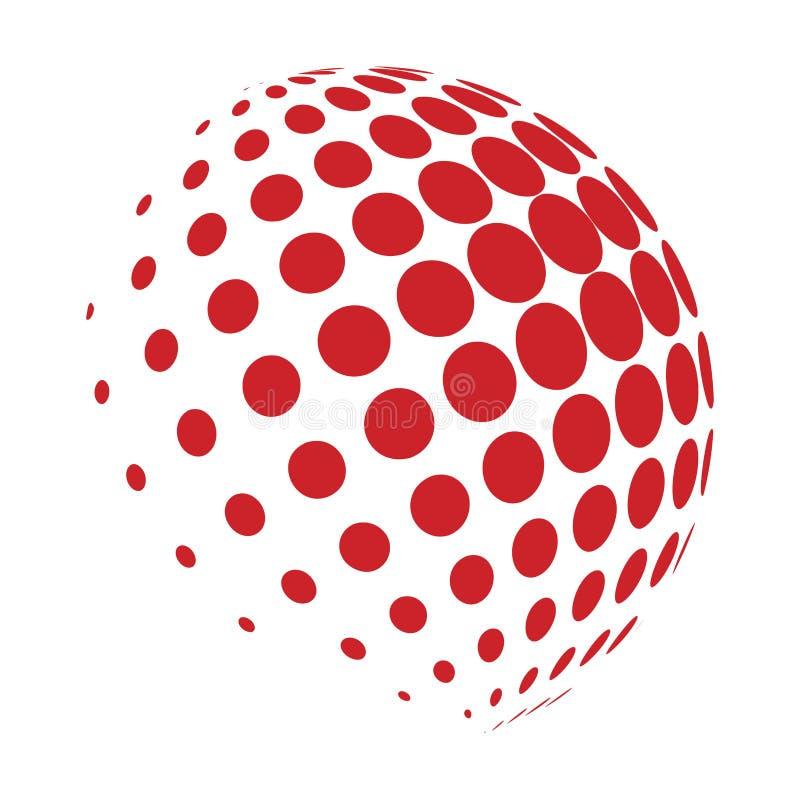Progettazione di semitono dell'icona di simbolo di vettore di logo del globo illustrazione di stock