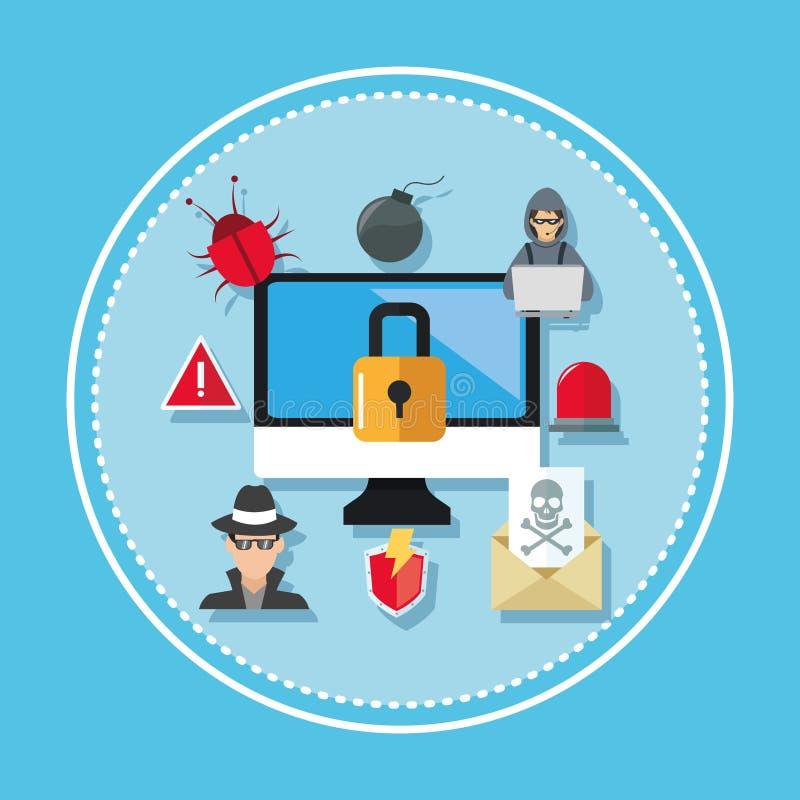 Progettazione di sicurezza di Internet Icona del sistema Illustrazione variopinta, vettore illustrazione di stock