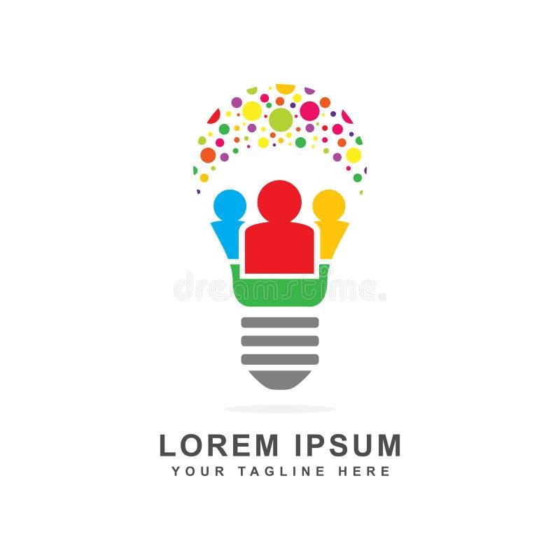 Progettazione di simbolo della gente astratta in una lampadina royalty illustrazione gratis