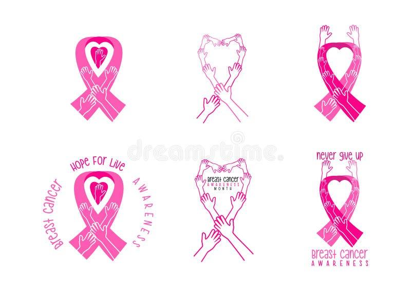 Progettazione di simbolo di consapevolezza del cancro al seno illustrazione vettoriale
