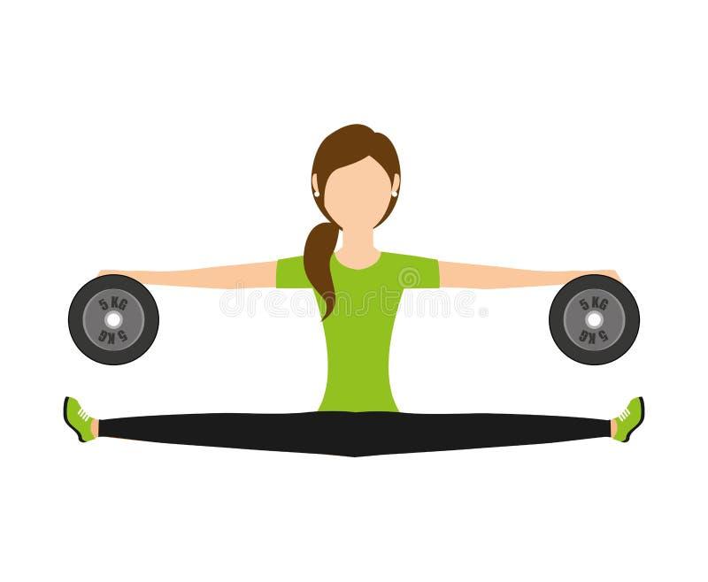 progettazione di sollevamento dell'icona isolata pesi della donna illustrazione vettoriale