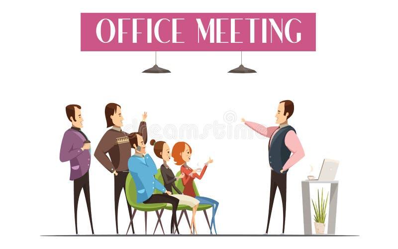 Progettazione di stile del fumetto di riunione dell'ufficio illustrazione vettoriale