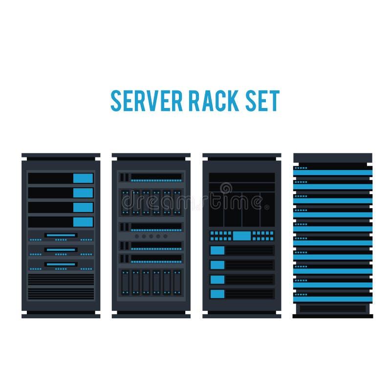 Progettazione di stoccaggio della base di dati dell'icona dello scaffale del server di vettore illustrazione di stock