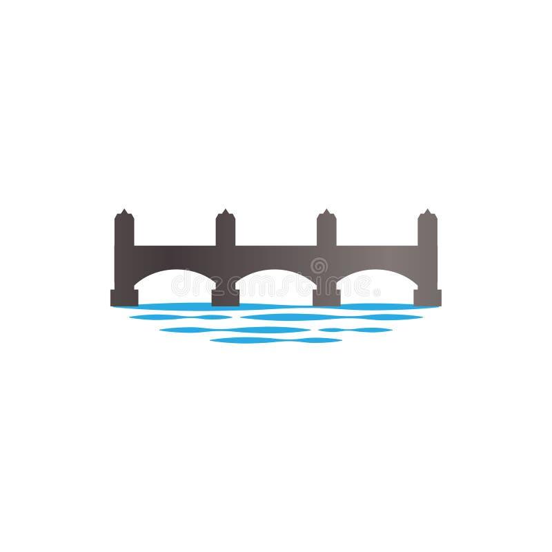 Progettazione di superficie di logo dell'illustrazione del fiume e del ponte illustrazione di stock