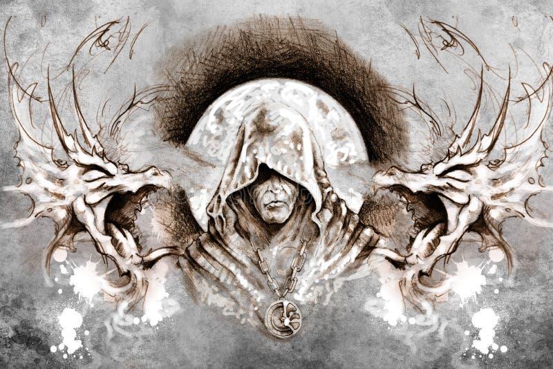 Progettazione di Tattoo del mago sopra fondo grigio. contesto strutturato. illustrazione vettoriale